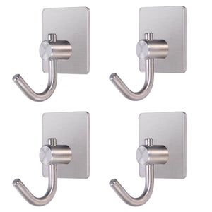4pcs Self Adhesive Hook Stainless Steel Heavy Duty Coat Towel Hook for Bathroom Kitchen Toilet