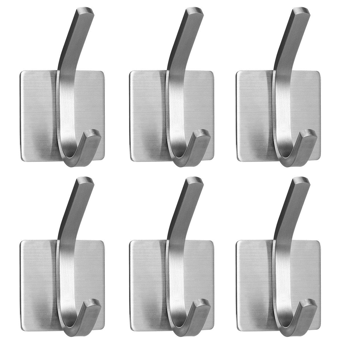 Self Adhesive Stainless Steel Hooks (6 pieces)