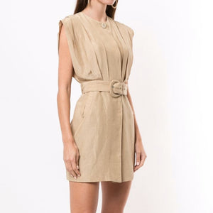 SIR THE LABEL - Leon Tucked Mini Dress Carmelo