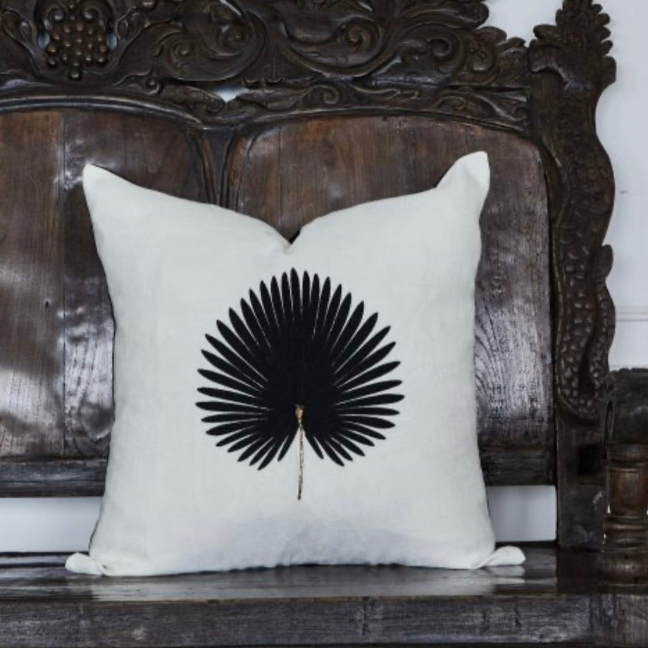 Kava White Linen Cushion with Black Palm