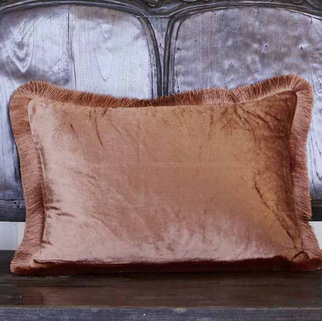 Tulay Velvet Cushion Fringe -Negroni