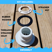 "Load image into Gallery viewer, 1-1/2"" Threaded Inlet Strainer Connector Kit for Stock Tank Pools (1500 / 2500 gph Filter Pumps"