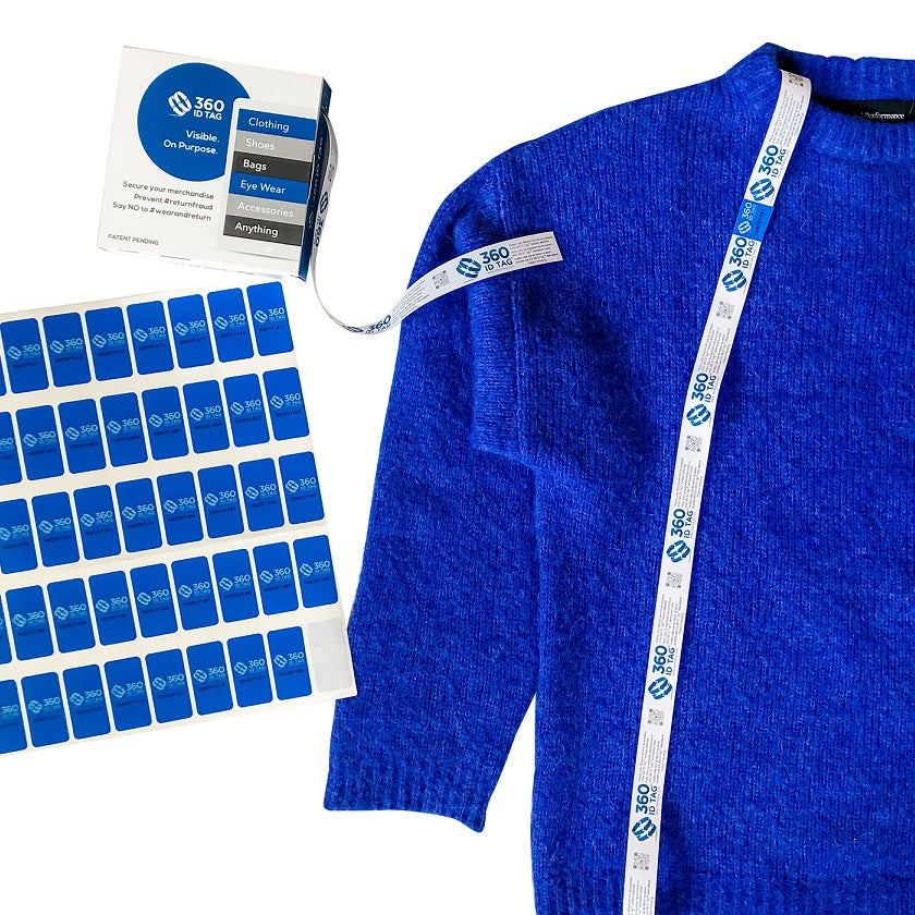 E-commerce return security tag on sweater. Prevent return fraud like wardrobing, wear and return, counterfeit product switches and tag switches. Add return tag to clothing, shoes, accessories to stop fraudulent returns. 360 ID Tag.