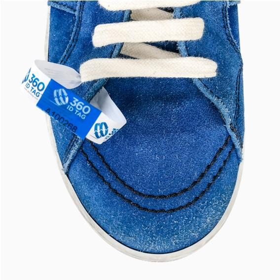 Shoe security tag. Sneaker security tag. E-commerce return security tag. Prevent return fraud like wardrobing, wear and return, counterfeit product switches and tag switches. Add return tag to clothing, shoes, accessories to stop fraudulent returns. 360 ID Tag.