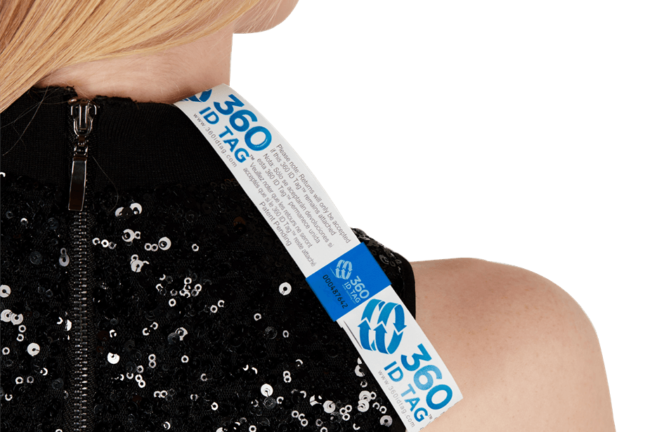 Clothing, dress e-commerce return tag prevent wear and return fraud 360 ID Tag