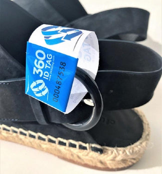Shoe tag. Shoe return tag prevent wear and return wardrobing, counterfeit product switches 360 ID Tag