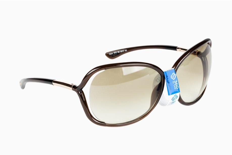 Sunglasses with e-commerce return tag to prevent return fraud like wardrobing, wear and return, counterfeit product switches. 360 ID Tag