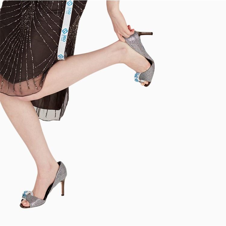 Shoes with e-commerce return tag to prevent return fraud like wardrobing, wear and return, counterfeit product switches. 360 ID Tag