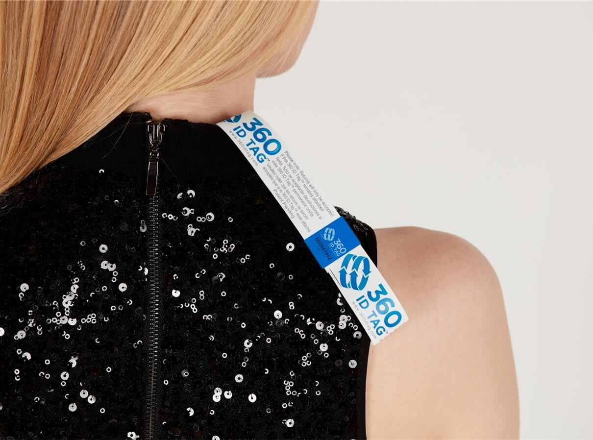 Dress with e-commerce return tag to prevent return fraud like wardrobing, wear and return, counterfeit product switches. 360 ID Tag