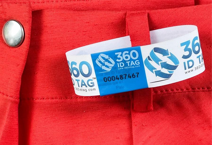 Pants with e-commerce return tag to prevent return fraud like wardrobing, wear and return, counterfeit product switches. 360 ID Tag