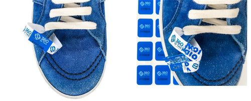 Sneaker tag. Sneaker return tag. Prevent return fraud like wear and return wardrobing, counterfeit product switches. 360 ID Tag