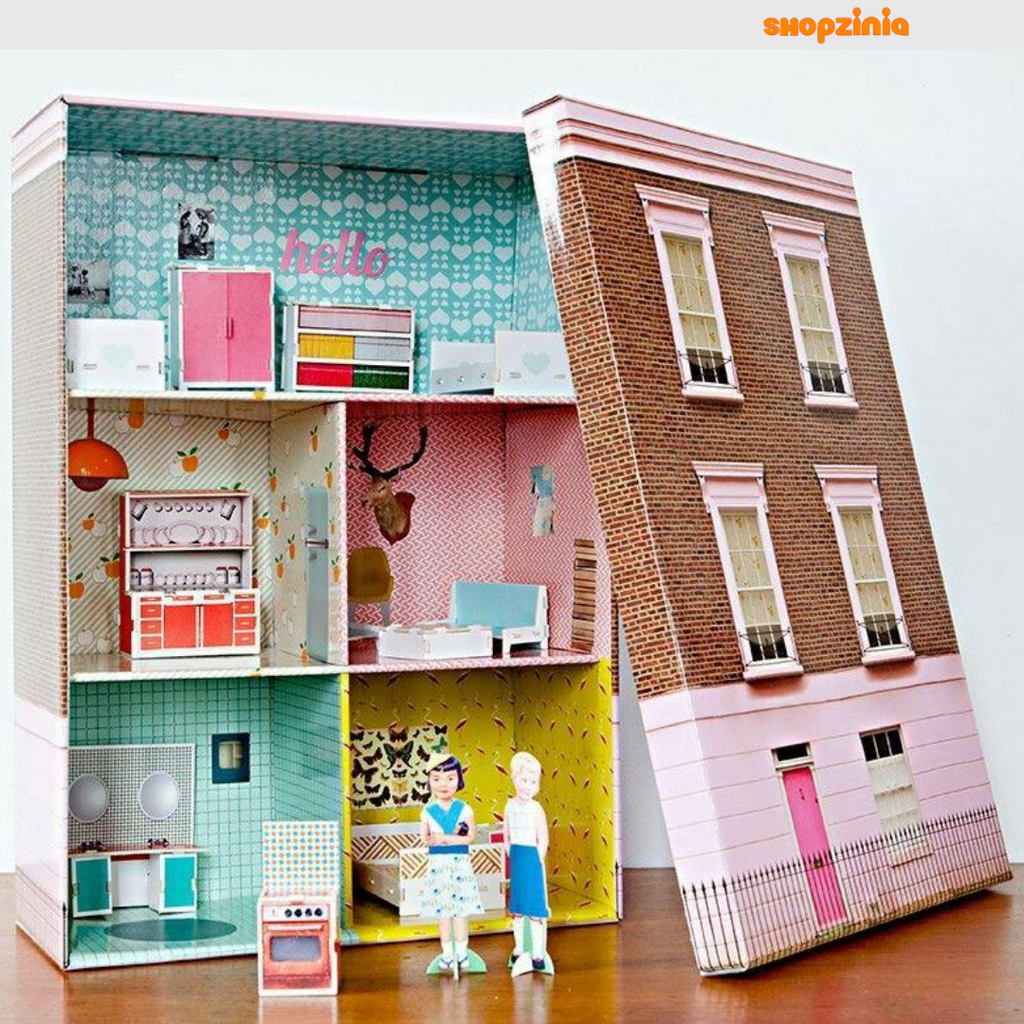 How To Make A Dollhouse From a Shoe-box - Using Recycled Materials