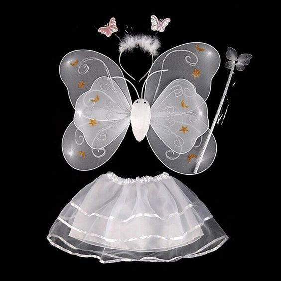 Fairy dress butterfly costumes wings tutu skirt set angle girls outfits - Shopzinia Egypt