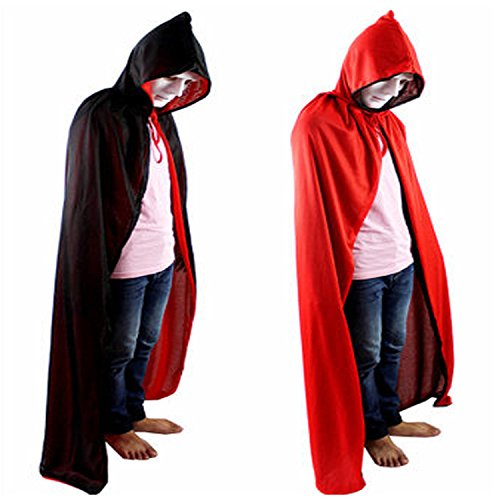 Halloween Costume Cloak Death Cloak Tape Cape Hat Red and Black
