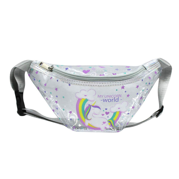 Clear Fanny Pack Waist Bag-My Unicorn world Bum Bags for Girls -Aj Costumes