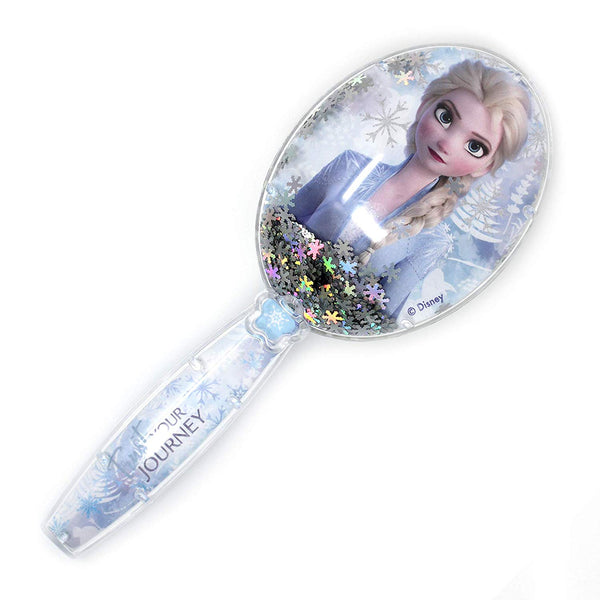Frozen 2 Girls Snowflake Confetti Hair Brush, Silver