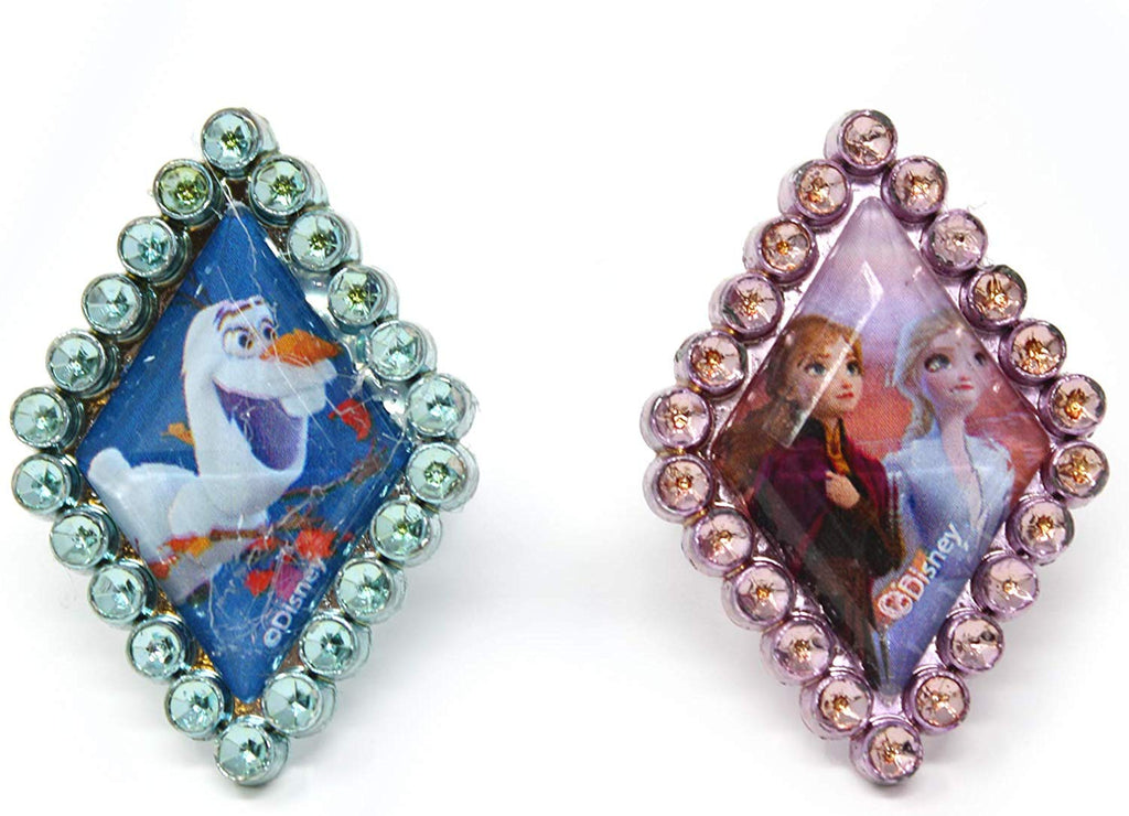Frozen 2 Girls 4 Piece Costume Toy Jewelry Box Set with Silver Rings, Bead Bracelet and Necklace