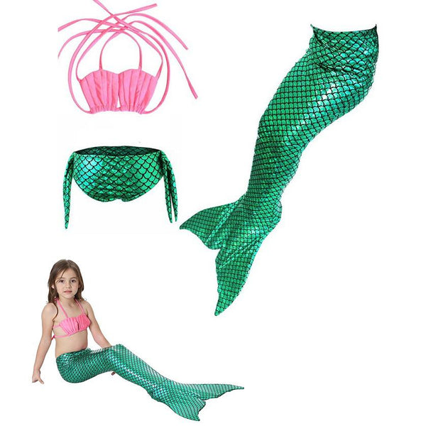 Swimsuit Tail with Mono fin Kids Green with Pink Set For Girls-AJ-COSTUMES