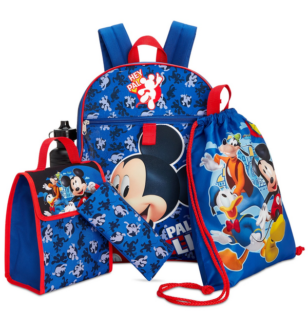 MICKEY MOUSE 5 PIECE BACKPACK SCHOOL SET-Aj costumes