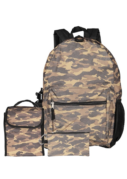 CAMO-PRINT BACKPACK, CAMOUFLAGE BROWN COMBO-Aj costumes