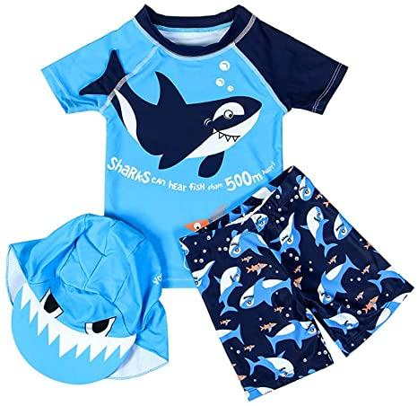 New Arrival Blue Kids Swimsuit Quality Boys Baby Swimwear Two-pieces Bath Suit Infant 3D Shark Lovely Children Beachwear 2-10Y