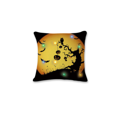 Happy Halloween Square Throw Pillow Case Cotton Linen Cushion Cover Black Pumpkin