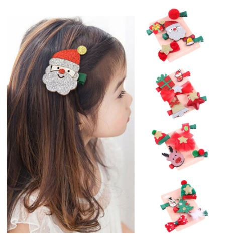 4pcs/set Cute Christmas Tree Santa Hat Kids Side Clip Hairpin Headwear