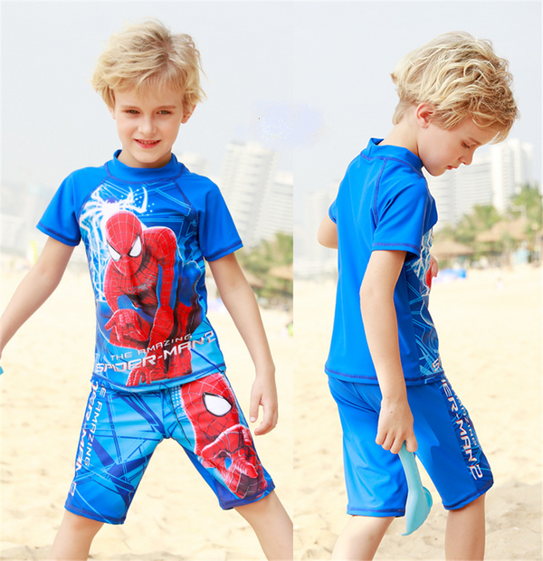 Boys swimwear 2 pieces SPIDER MAN 3D cartoon printed-Aj costumes