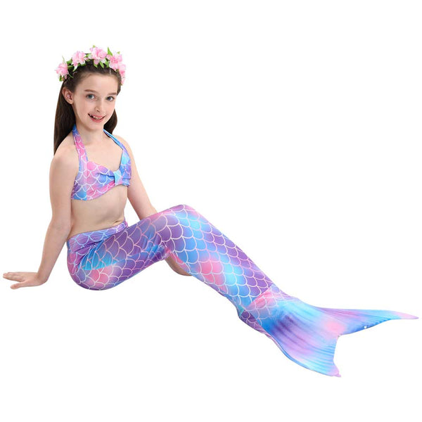 Mermaid Tail Kids Rainbow Set For Girls-AJ-COSTUMES