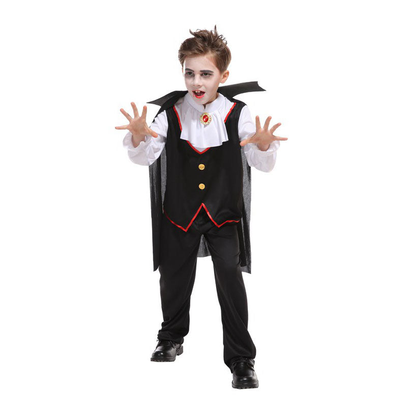 Kids Child Black White Noble Vampire Costumes for Boys Halloween