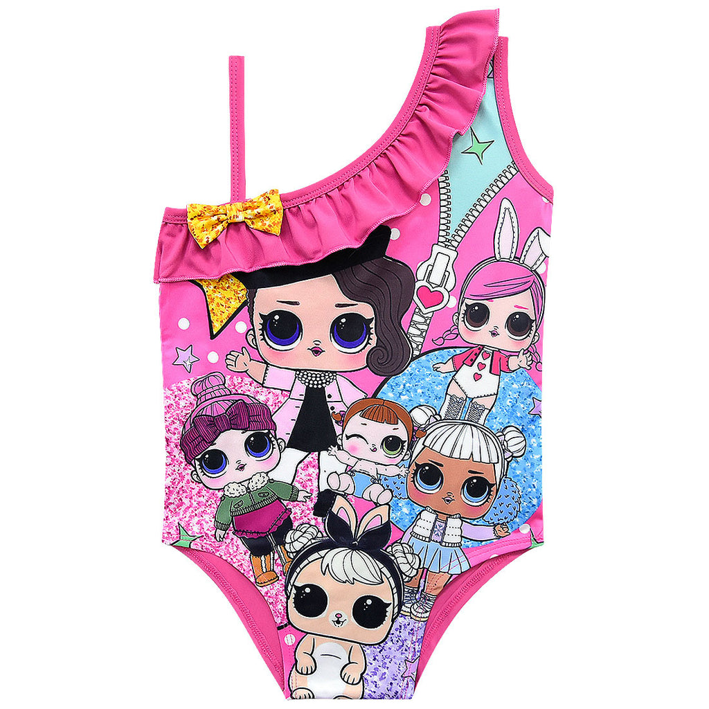 Girls Swimwear -Doll Rainbow Costume Swimwear One Piece Set-Aj costumes
