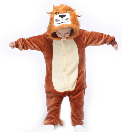 Kids Brown Lion Kigurumi Pajamas Kids Animal Costumes for Unisex Children