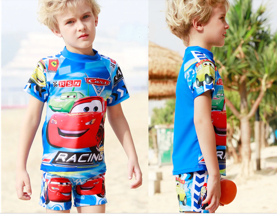 Boys swimwear 2 pieces CARS 3D cartoon printed-Aj costumes
