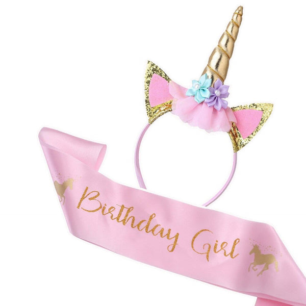 Unicorn Headband and Birthday Girl Sash Set