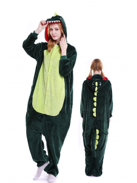 Adult Green Dinosaur Onesie for Kid Kigurumi Animal Pajama Halloween Costumes