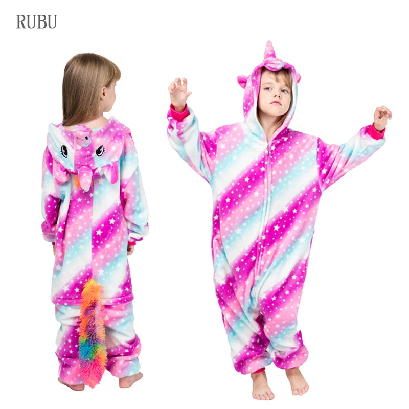 Girls One-Piece Kids Gold Horn Unicorn pajama
