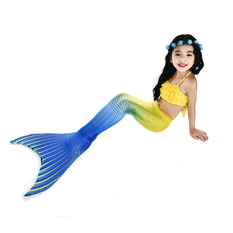 Swimsuit-4 Pcs Girls Mermaid Tails Yellow -Beach Wear for Girls-AJ-COSTUMES