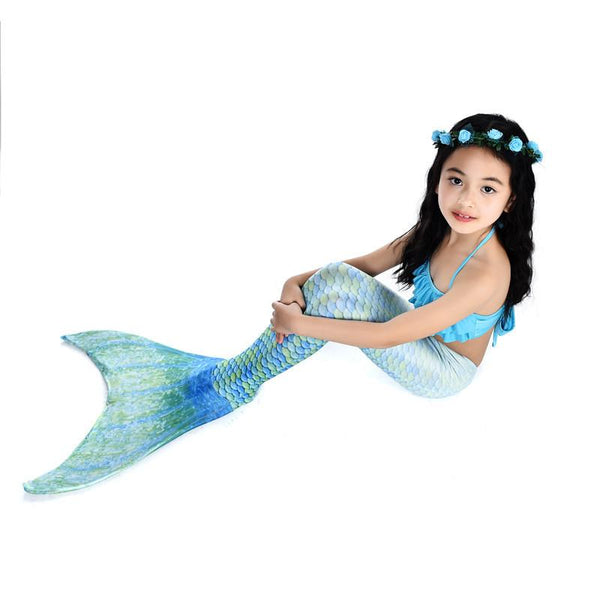 Swimsuit-4 Pcs Girls Mermaid Tails Blue -Beach Wear for Girls-AJ-COSTUMES