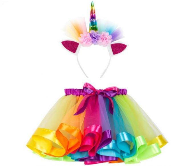 Rainbow Tutu Skirt with Unicorn Headband AJ COSTUMES