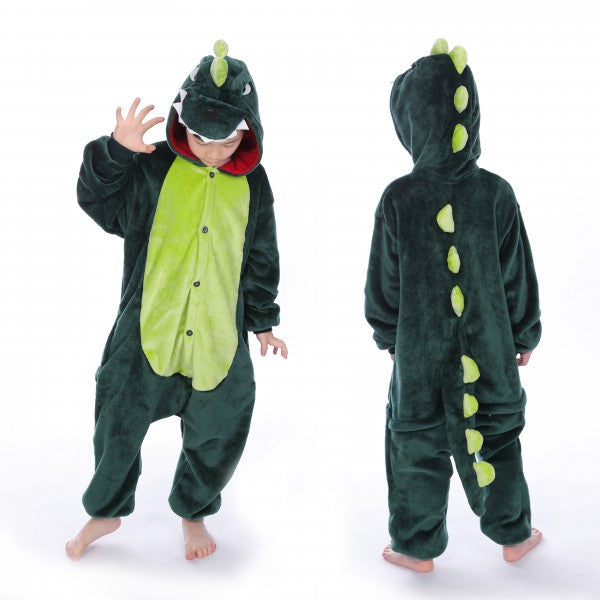 Kids Green Dinosaur Onesie for Kid Kigurumi Animal Pajama Halloween Costumes