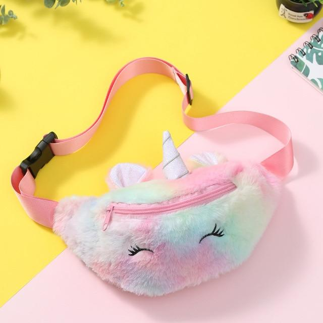 Cartoon Kid Unicorn Plush Waist Bag fluffy