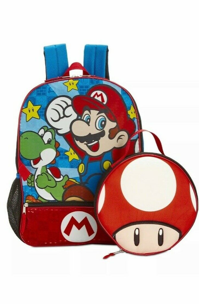 Super Mario Bros.  Backpack School Bag Toad Lunch Bag -Aj costumes