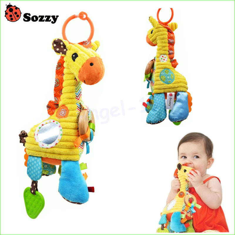 1pcs Lovely Cartoon Giraffe Pattern Baby Toys Musical Rattle Ring Bell Plush Children Puzzle Doll