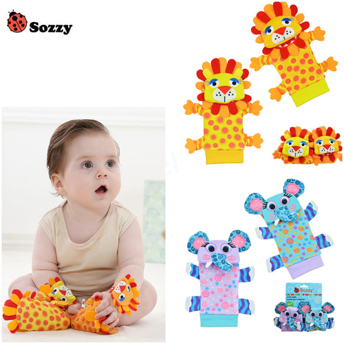 Newest 4pcs/lot (4pcs=2 pcs waist+2 pcs socks)/lot,baby rattle toys Sozzy Garden Bug Wrist Rattle and Foot Socks