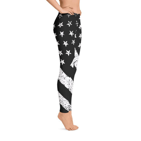 SunDawg Black & White Grunge American Flag Leggings