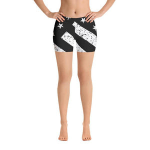 SunDawg Black & White Grunge American Flag Shorts