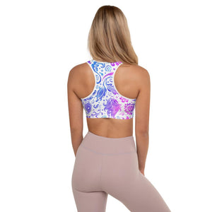 SunDawg Blue & Pink Floral Padded Sports Bra