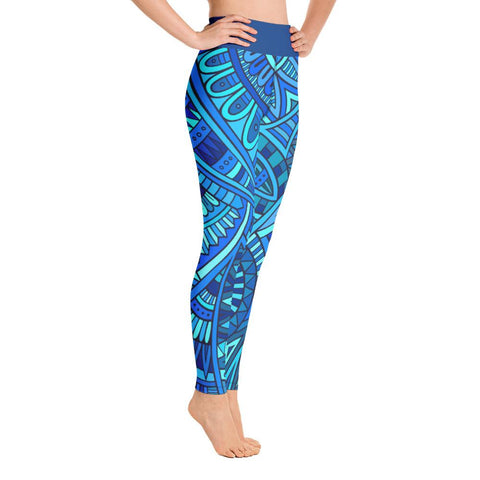 SunDawg Blue Tribal Yoga Leggings