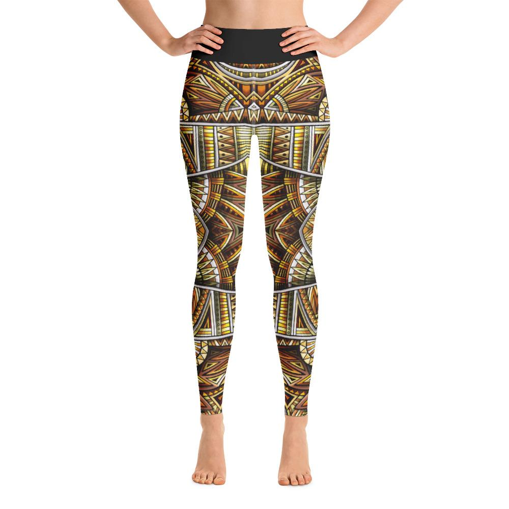 SunDawg Gold Tribal Yoga Leggings
