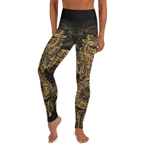 SunDawg Golden Ornamental Owl Yoga Leggings